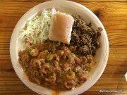 Our meal at Poche's - Crawfish Etoufee, Dirty Rice and Slaw - Sooooo good!