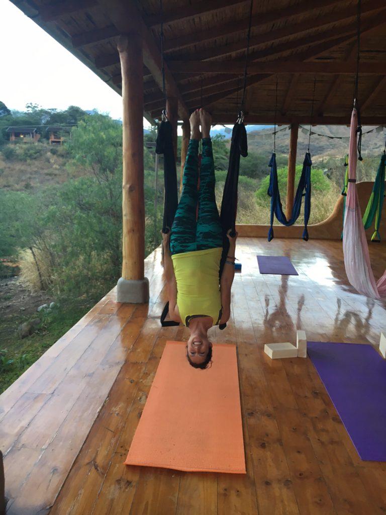 Aerial yoga in Ecuador!