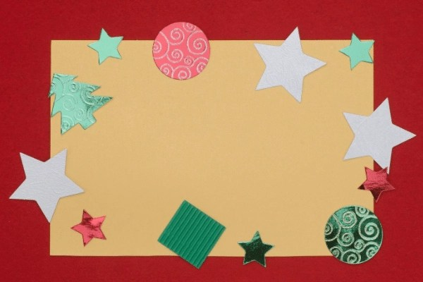 handmade Christmas card, two tone and christmas stickers