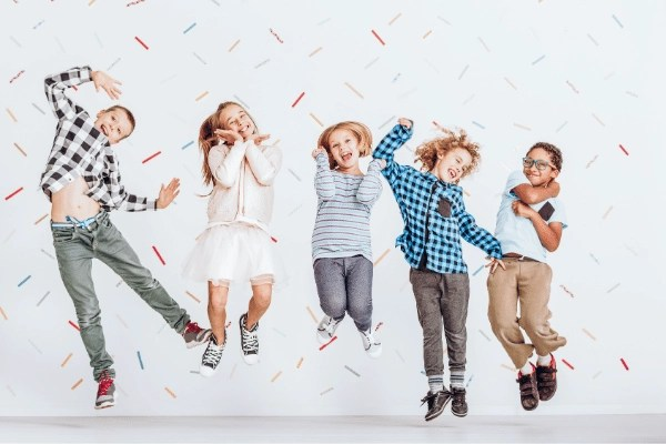 excited children jumping