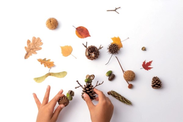 PINE CONE NATURE CRAFTS WITH PRESCHOOLERS TO MAKE FUN LITTLE CREATURES USING LEAVES, acorns, and sticks