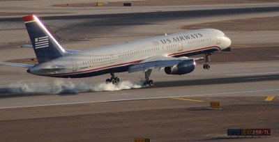 A U.S. Airways 757 lands at Phoenix Sky Harbor. Umm, would a visit or two from a 777 be too much to ask?