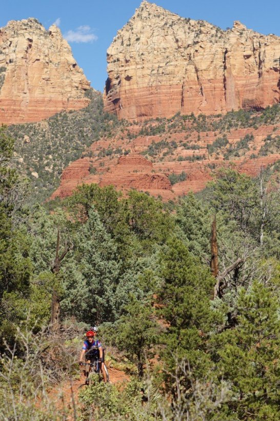 A rider among the red rocks.