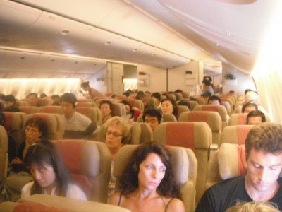 The Travel Class cabin of an Asiana 777, Asiana Airlines review