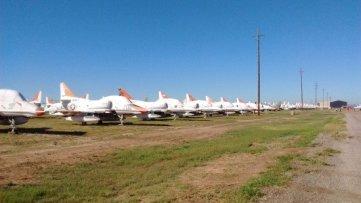 Old A-4 Skyhawks along the course of the Desert Boneyard 10k.
