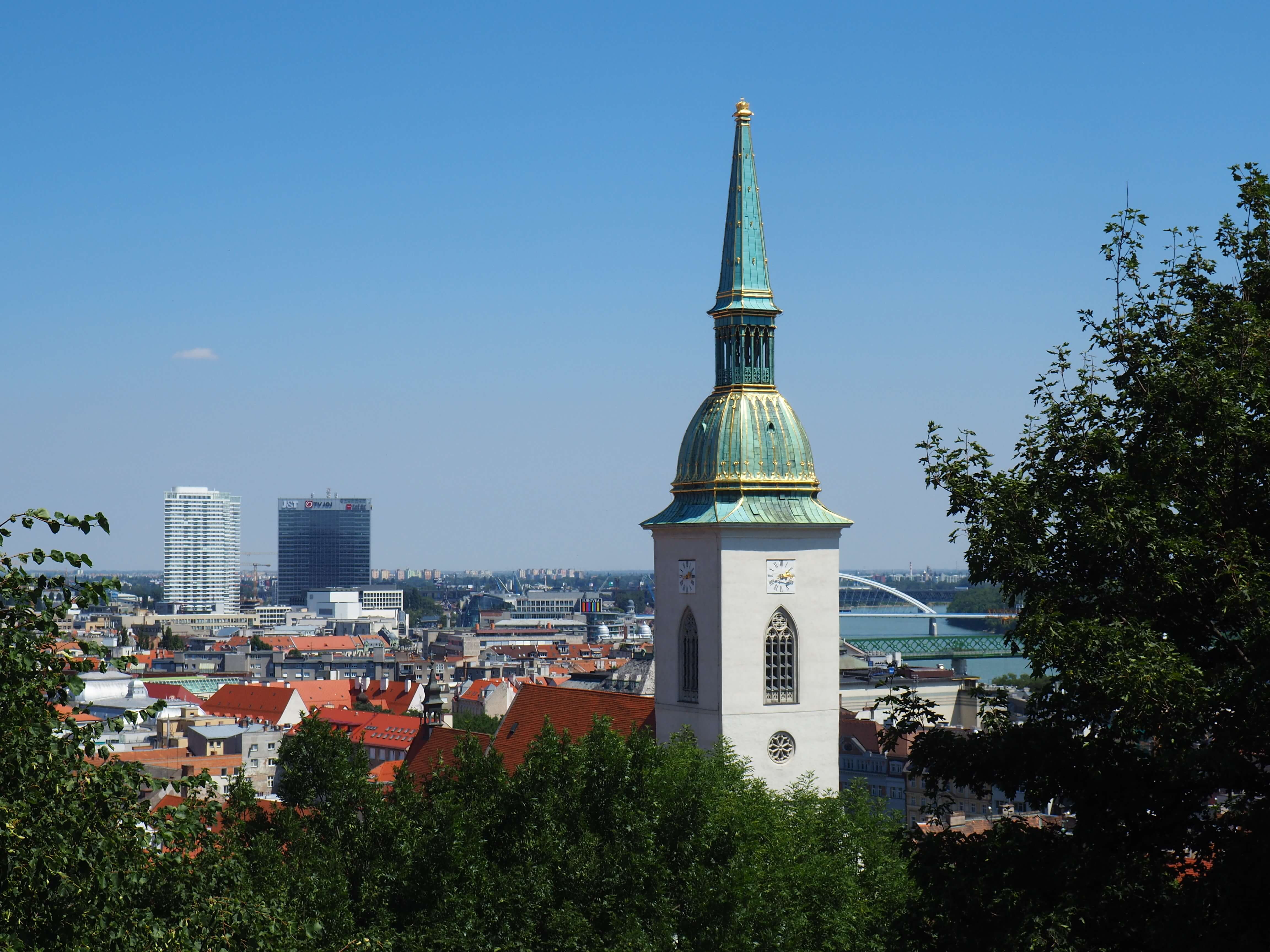 The steeple of St. Martin's Cathedral as seen from Bratislava Castle.