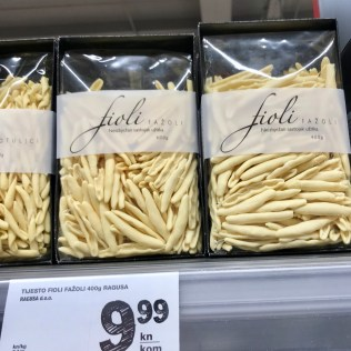 Fioli brand of pasta is made in Croatia. (photo by Carolyn Stewart)