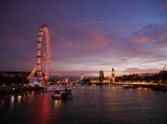 Thames path lit up - the london eye