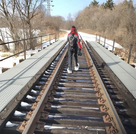 Crossing the Railroad bridge to avoid skiers