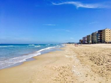 Mediterranean beach at Mareny Blau, south of Valencia