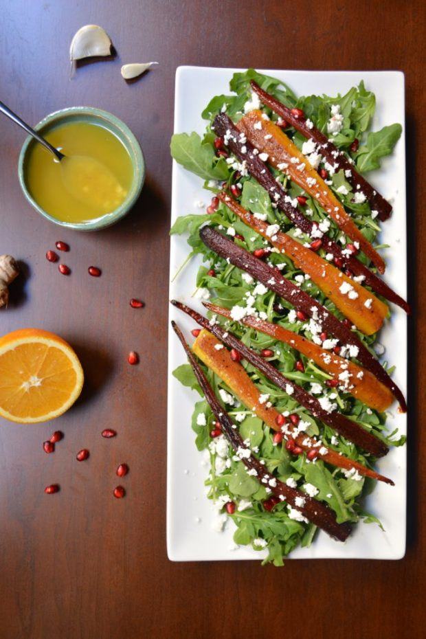 Sweet & Spicy Pomegranate Roasted Carrots with Orange Ginger Arugula Salad
