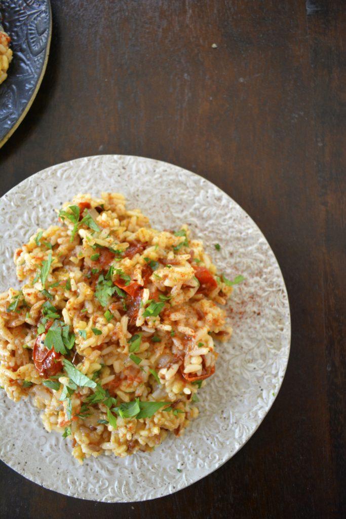 Lemon & Garlic Roasted Broccolini - Mediterranean Grain Salad