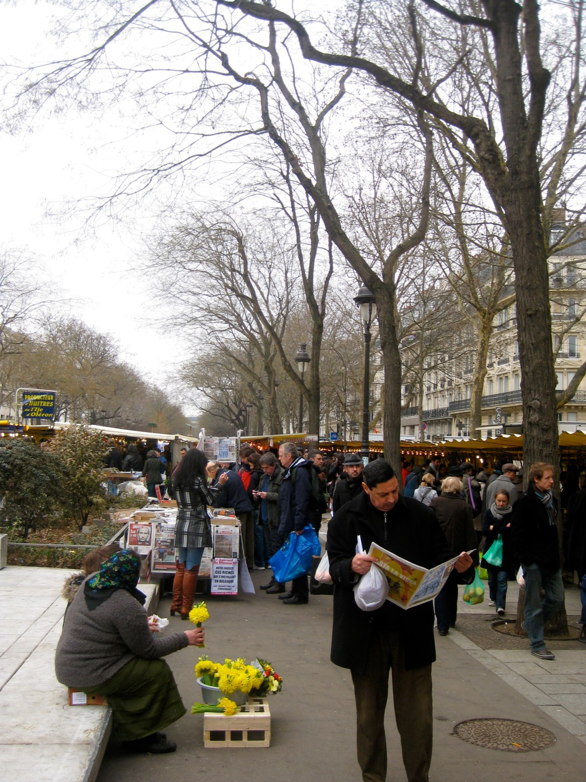 Marche Bastille market in Paris, France in winter