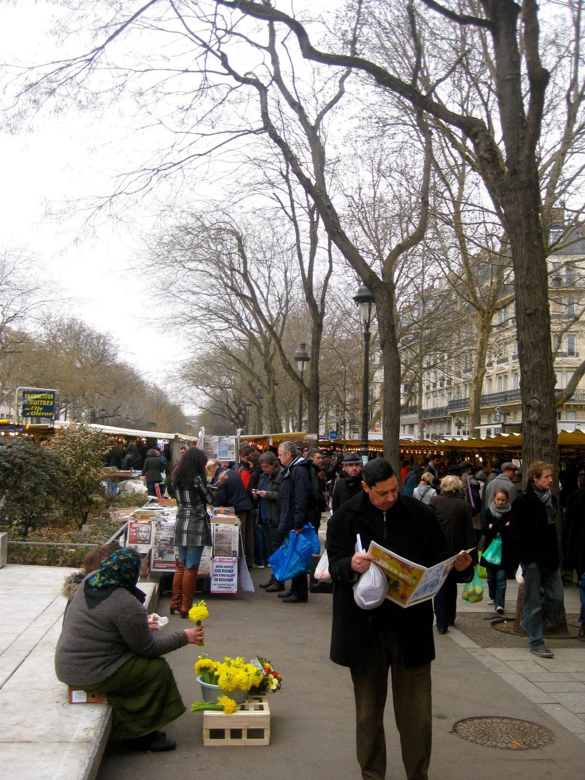 Marche Bastille market in Paris, France in winter