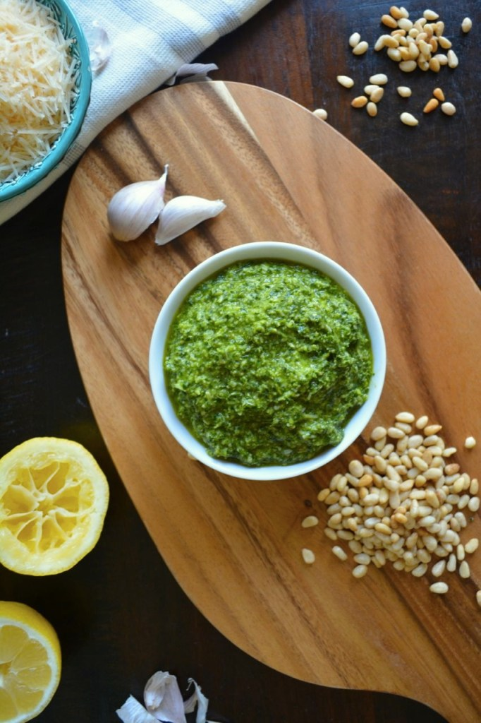 Classic Basil Pesto - the addition of lemon juice keeps this easy pesto recipe light and versatile!