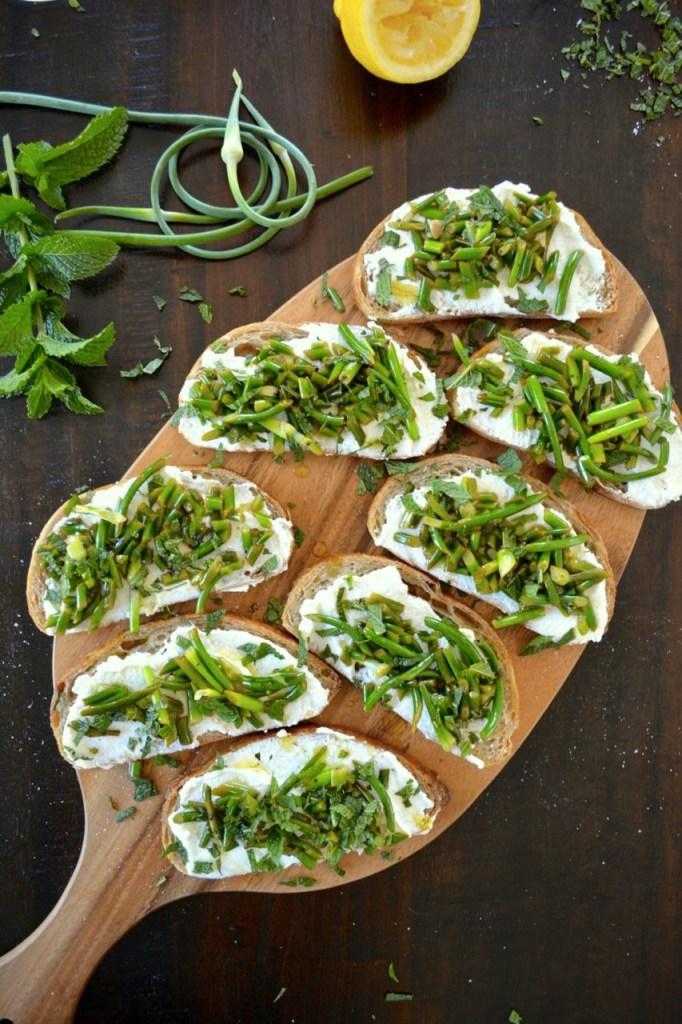 Garlic Scape and Ricotta Crostini - the perfect summer appetizer recipe!