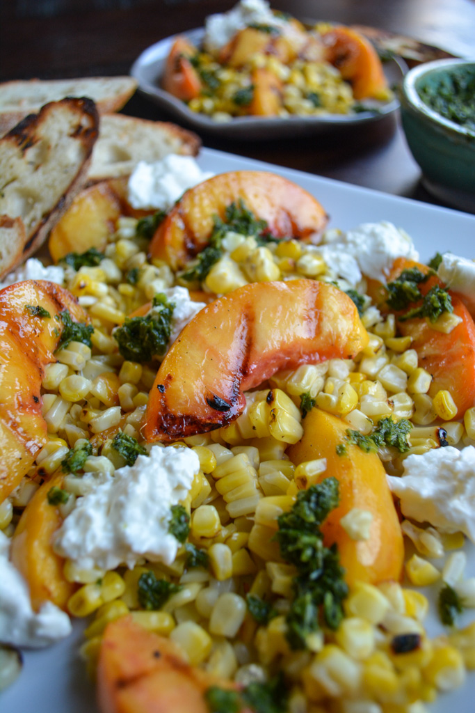 Grilled peaches and corn with creamy burrata and crispy baguette - the perfect peach crostini recipe!