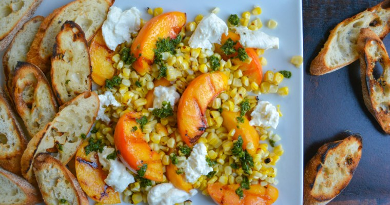 Grilled Peach Crostini with Corn & Burrata