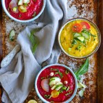 Tomato and Roasted Beet Gazpacho with Cucumber, Herbs, and Olive Oil