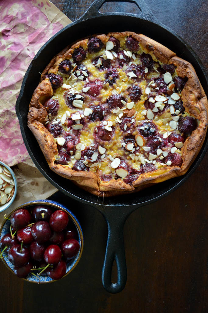 Almond & Cherry Clafoutis - a classic French dessert recipe made with pitted cherries and sliced almonds