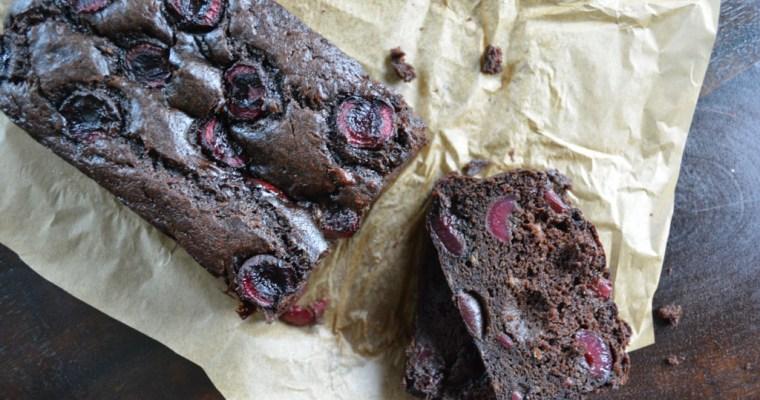 Dark Chocolate Banana Bread with Cherries
