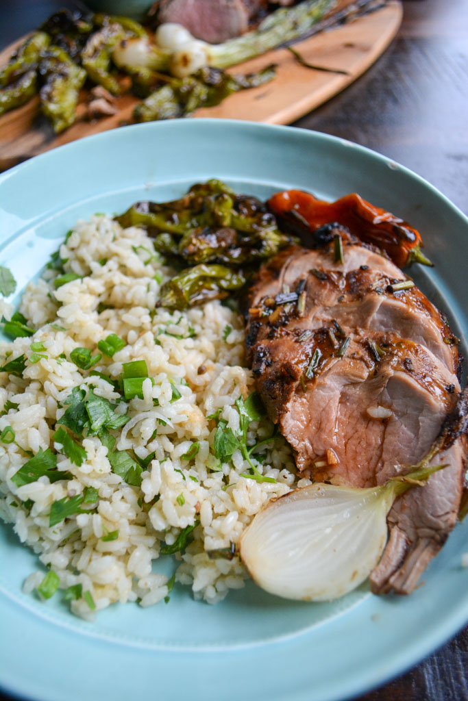 Grilled Pork Tenderloin with Honey Sesame Glaze & Shishito Peppers