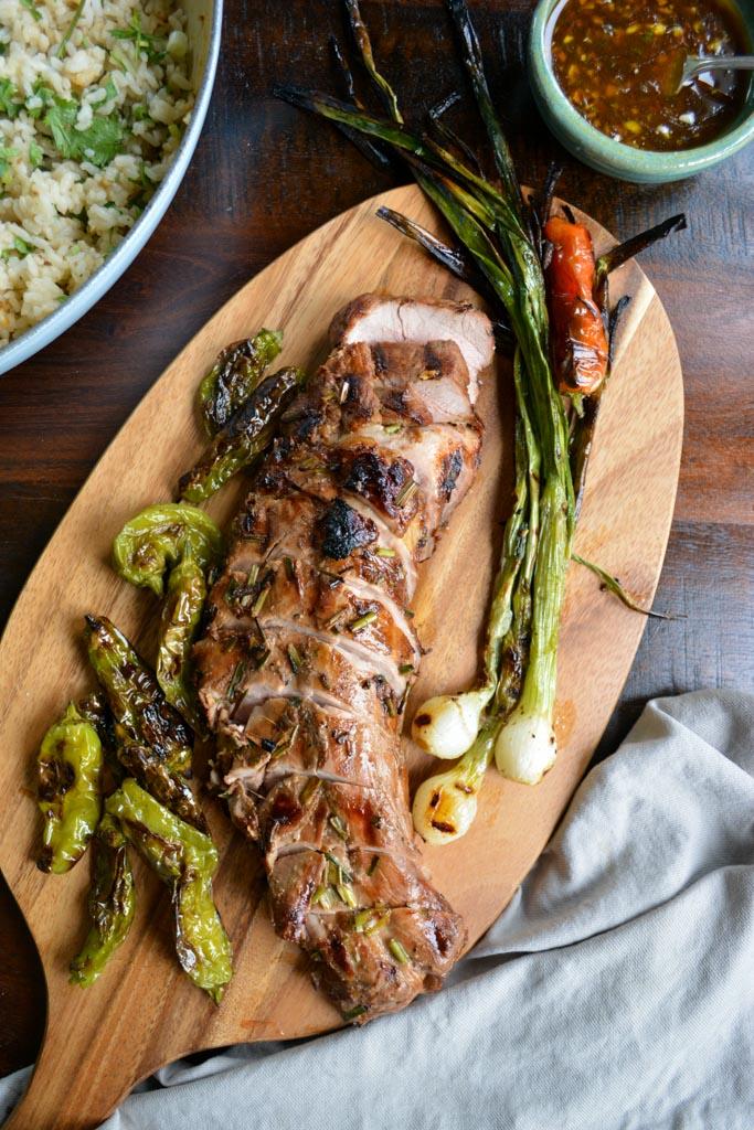 Grilled Pork Tenderloin with Honey Sesame Glaze & Shishito Peppers