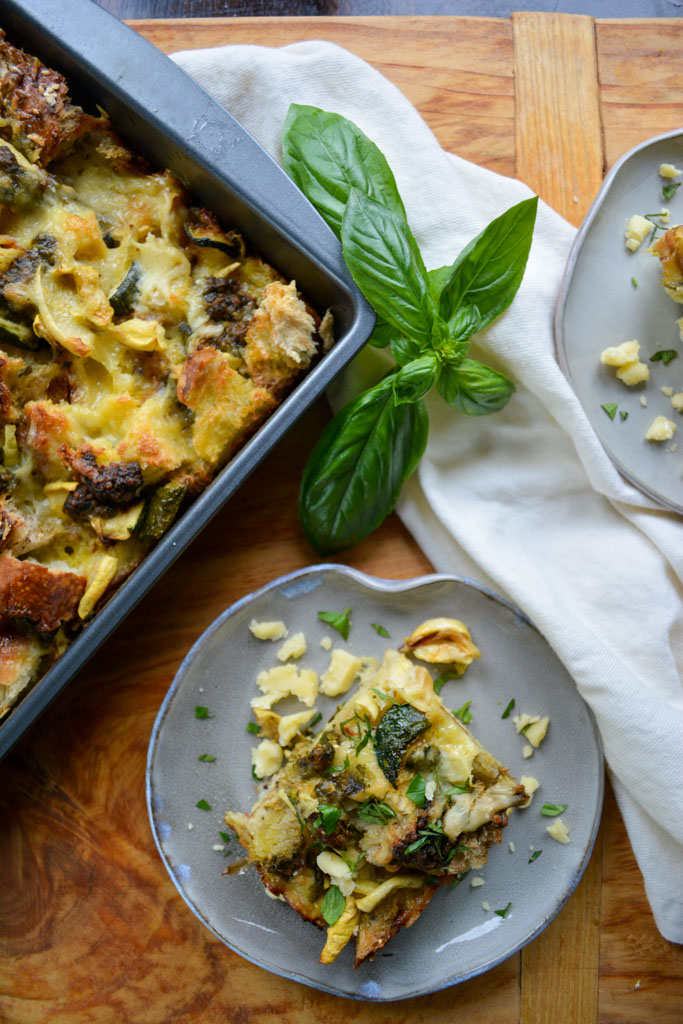 Summer Squash & Pesto Breakfast Strata