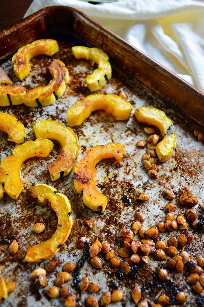 Roasted Delicata Squash Salad with Maple Tahini Dressing