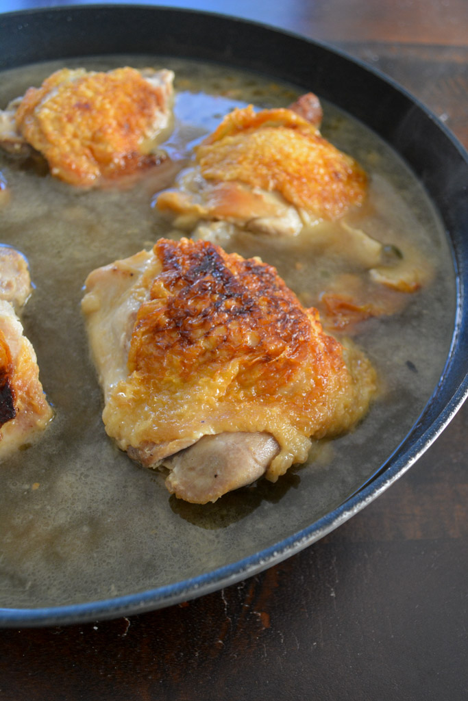 Braised Chicken Thighs with White Wine and Capers