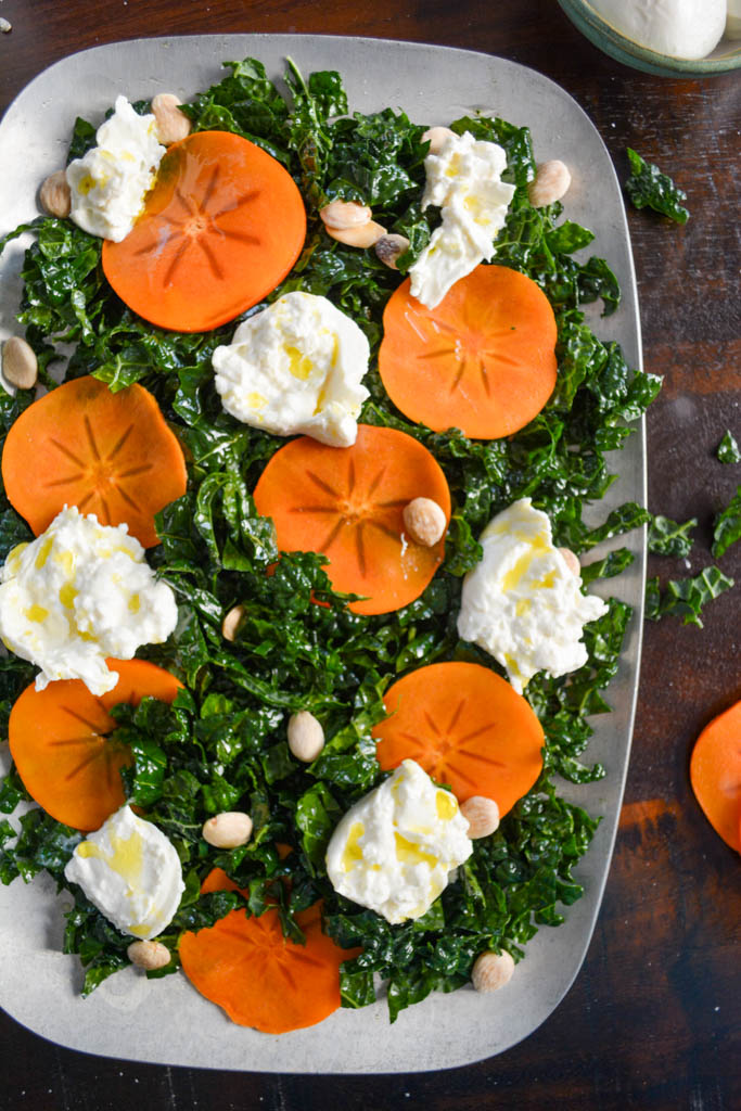 Kale & Persimmon Salad with Burrata and Marcona Almonds