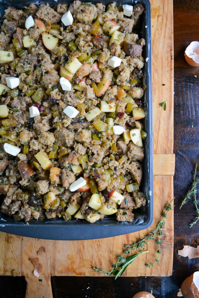 Best Ever Sausage and Apple Stuffing Ready to go in the Oven