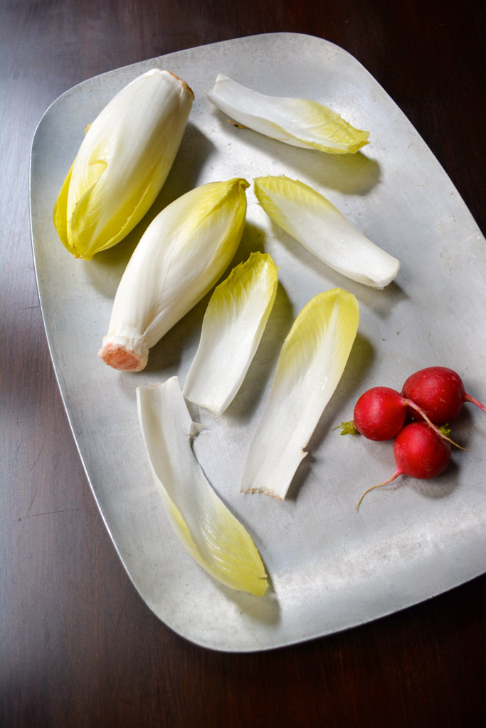 Winter Endive Boats with Apples, Pears, Radishes and Blue Cheese