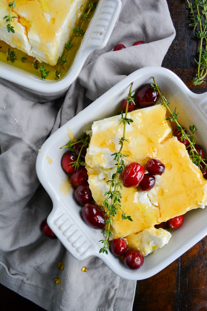 Baked Feta with Honey, Cranberries, and Thyme