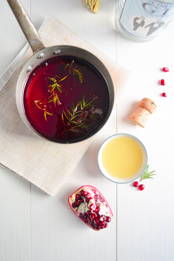 Pomegranate Simple Syrup for Rosemary Pomegranate French 75