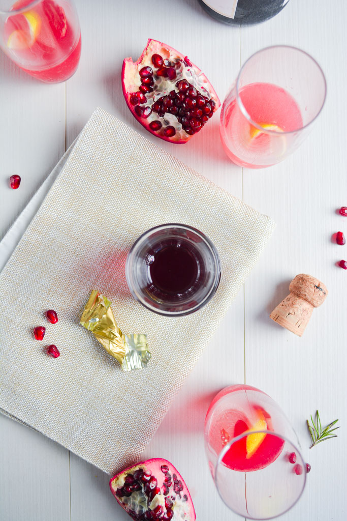 Pomegranate Simple Syrup and Pomegranate Seeds for Rosemary Pomegranate French 75