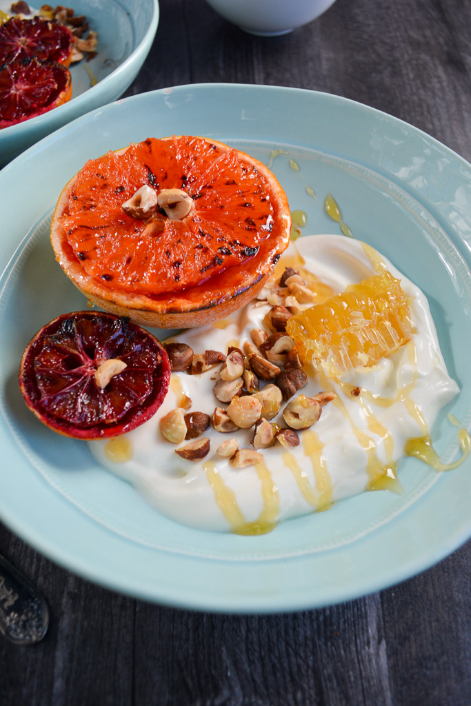 Broiled Blood Oranges and Broiled Grapefruit with Honeycomb, Hazelnuts and Greek Yogurt