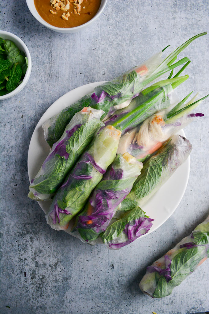 Fresh Vietnamese Spring Rolls with Peanut Ginger Dipping Sauce