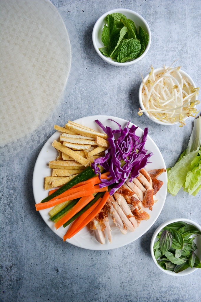 Ingredients on a plate for Vietnamese Spring Rolls