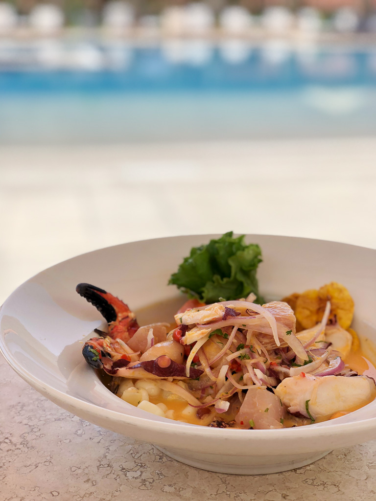 Peruvian Ceviche by the pool at Hotel Vinas Queirolos