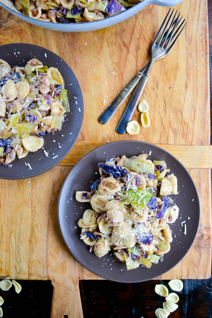 Orecchiette Pasta with Cabbage and Pancetta sprinkled with fresh grated parmesan