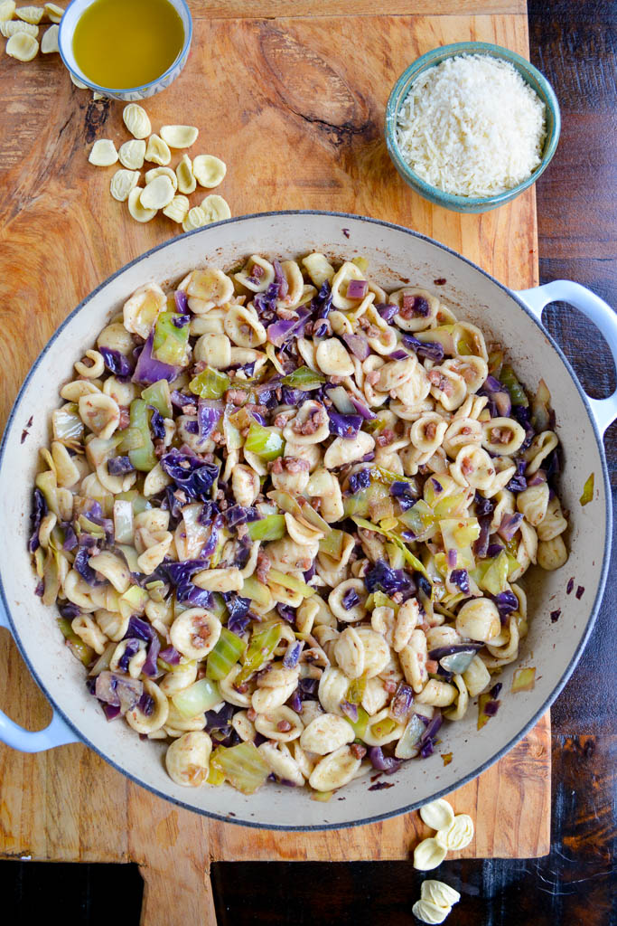 Caramelized cabbage with crispy pancetta and cooked orecchiette - Pasta with Cabbage and Pancetta