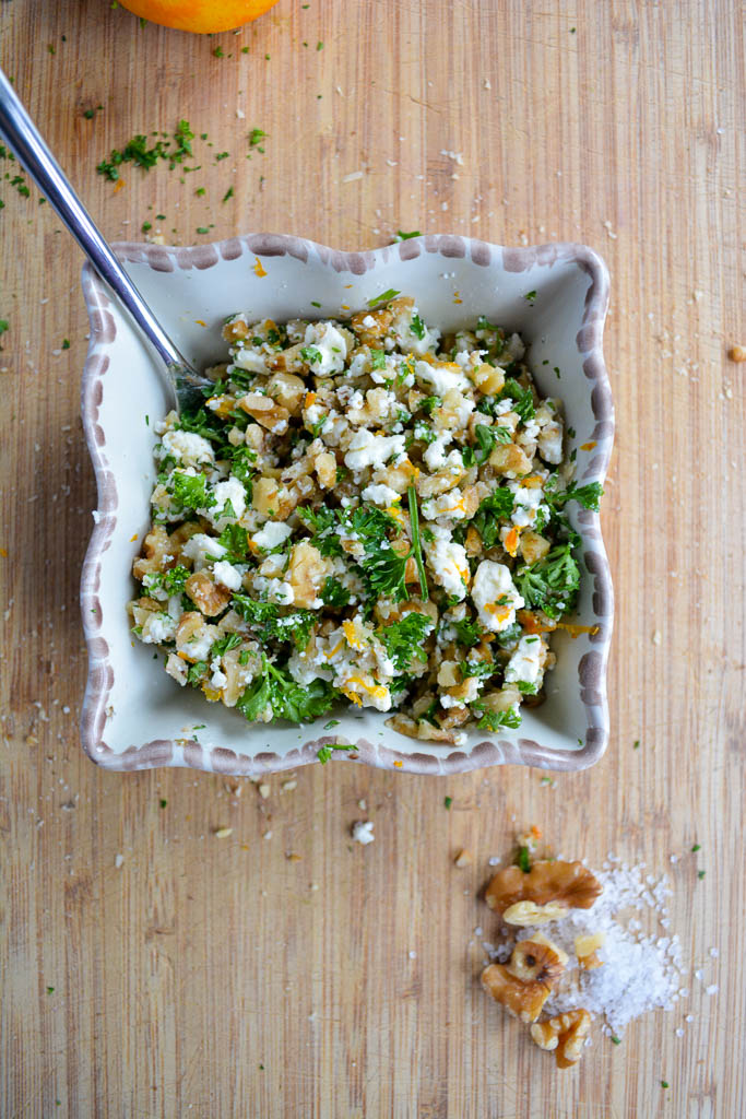 Mixed walnut and feta gremolata