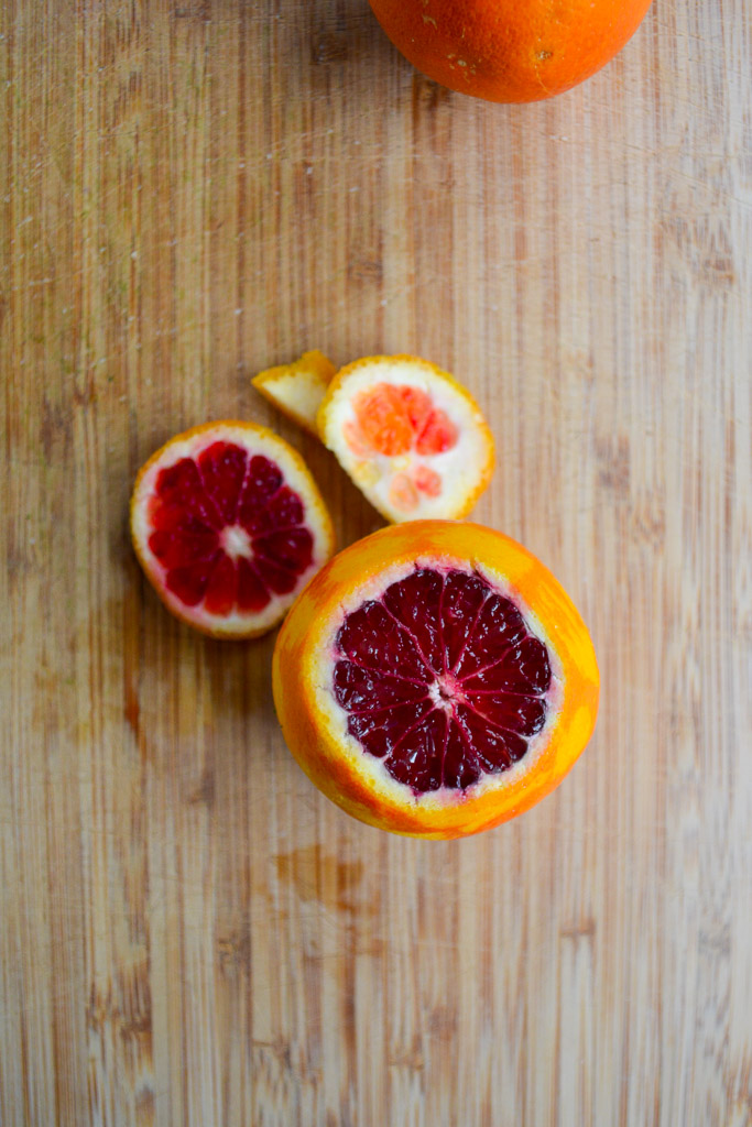 Blood orange on a cutting board