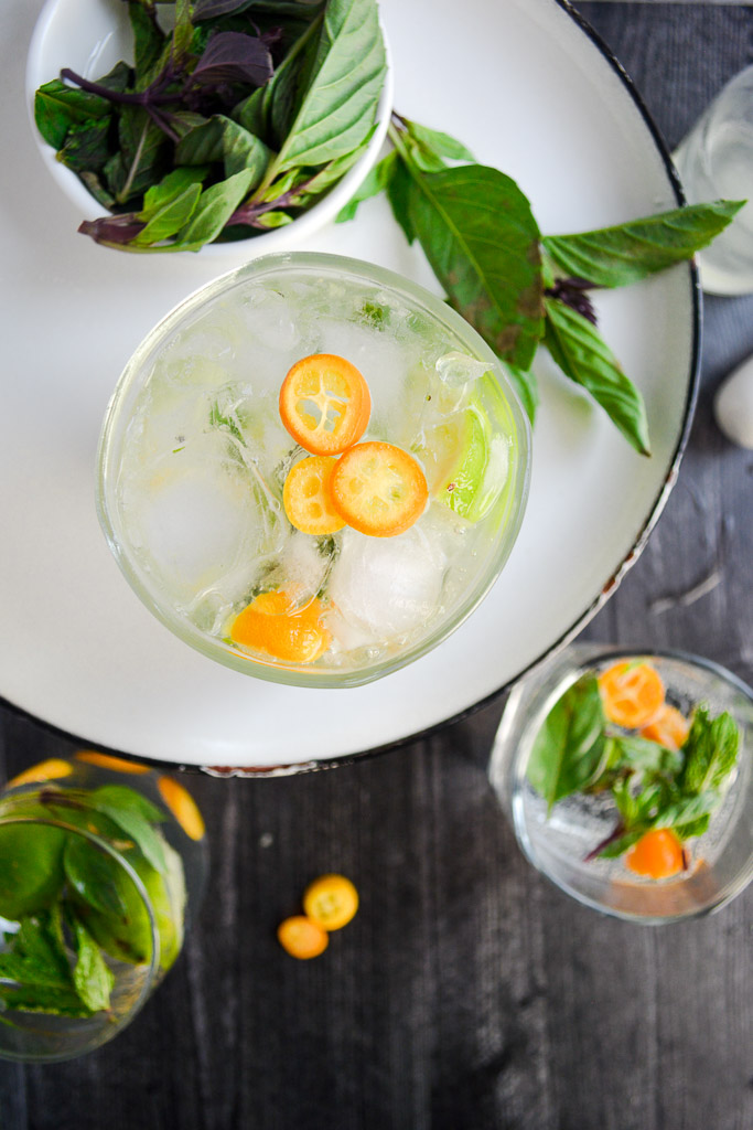 Thai Basil and Kumquat Mojitos