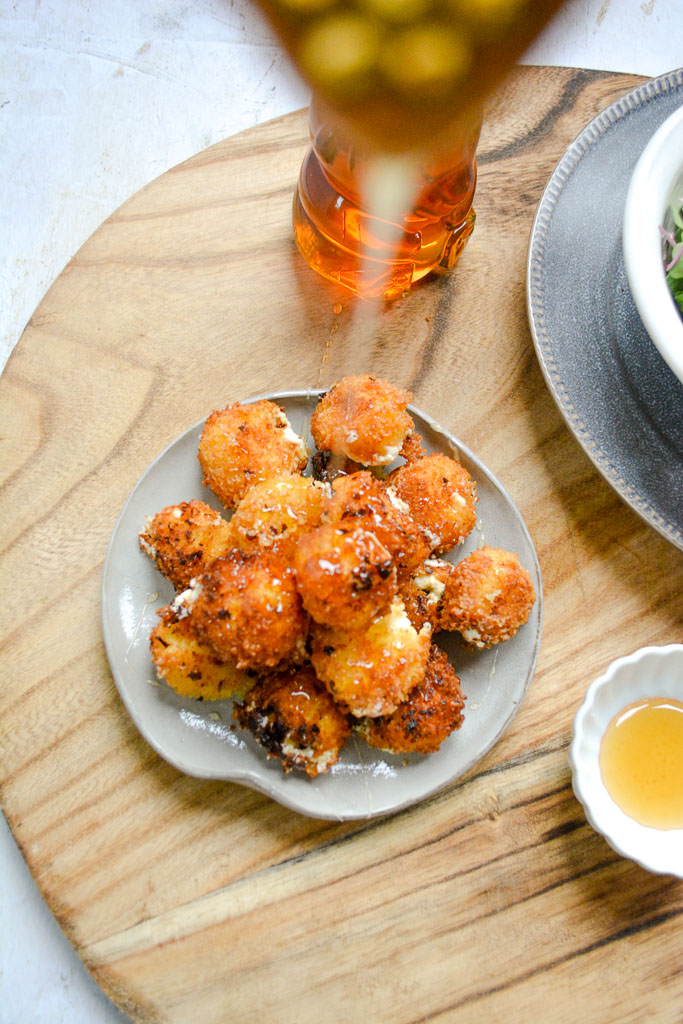 Fried goat cheese drizzled with honey