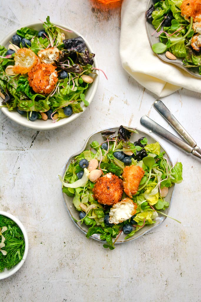 Spring Salad with Crispy Goat Cheese and Honey