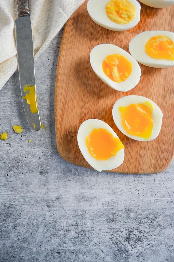 Jammy soft boiled eggs