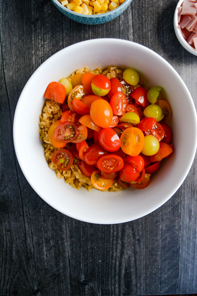 Brown rice and cherry tomatoes