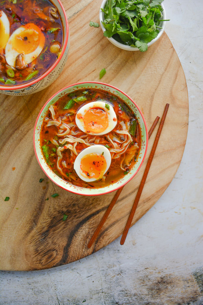 Asian style soup with perfect soft boiled eggs